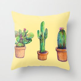 Cactus on Yellow Throw Pillow
