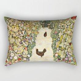 Gustav Klimt Garden Path With Chickens Rectangular Pillow