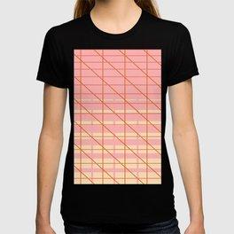 grid check layer_pink, biege T-shirt