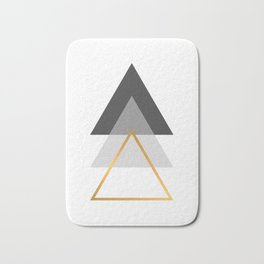 Triangles art, Black, white and gold Bath Mat
