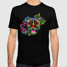 Smiling Pit Bull in Brindle - Day of the Dead Happy Pitbull - Sugar Skull Dog Mens Fitted Tee 2X-LARGE Black