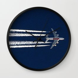 Emirates Airbus A380 with contrail Wall Clock