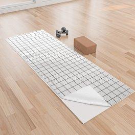 Black and White Thin Grid Graph Yoga Towel