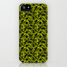 Stylish design with rotating circles and yellow rectangles from dark stripes. iPhone Case