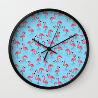 flamingos Wall Clocks featuring Flamingos by WanderingBert / David Creighton-Pester