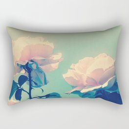 Soft Baby Pink Roses with Mint Blue Sky Backgroud Rectangular Pillow