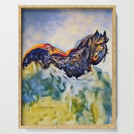 Wild Horse in Sea of Grass watercolor by CheyAnne Sexton Serving Tray