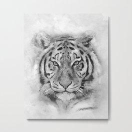 Tiger Watercolor Black & White, Art Print By LandSartprints  Metal Print