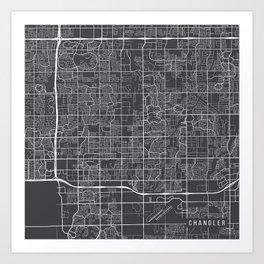 Chandler Map, USA - Gray Art Print