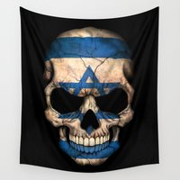 israel Wall Tapestries featuring Dark Skull with Flag of Israel by Jeff Bartels