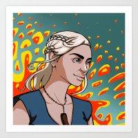 daenerys Art Prints featuring Daenerys Targaryen by Paucibet
