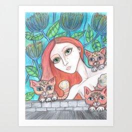 Kitty Sitter Art Print