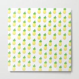 Tropical watercolor green yellow hand painted pineapple Metal Print