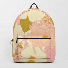 Pink Pastel Vintage Floral Pattern Backpack