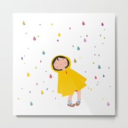 girl in the rain Metal Print