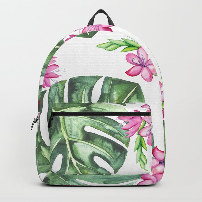 Tropical Flowers And Monstera #society6 Backpack