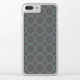 Moroccan Quatrefoil Clover Grey Clear iPhone Case