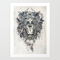hipster lion Art Prints featuring Lion by Feline Zegers