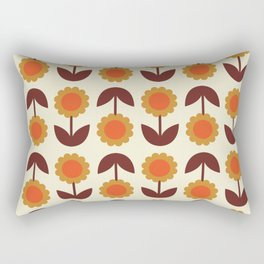 Retro 70s Wallpaper Flowers Rectangular Pillow