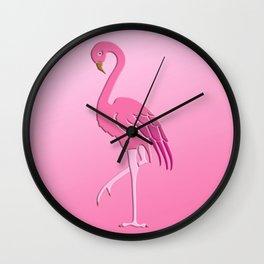 Coral Pink Flamingo Pattern Wall Clock