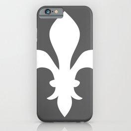 Fleur de Lis (White & Grey) iPhone Case
