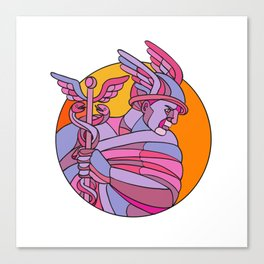Messenger of the Gods Mosaic Color Canvas Print