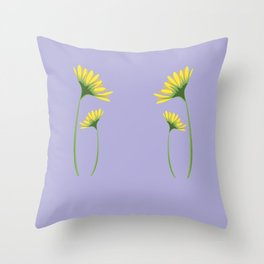 Yellow Daisy Twins on Lavender Throw Pillow