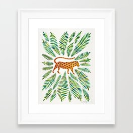 Jaguar – Green Leaves Framed Art Print