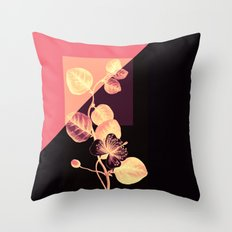 flower on pink,purple and black Throw Pillow