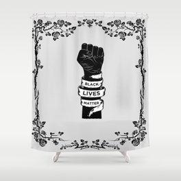 Black Lives Matter Power Fist Frame Shower Curtain