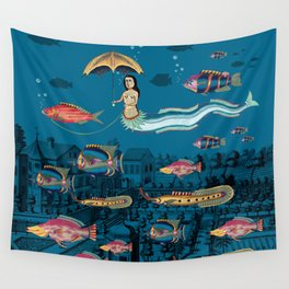 Mermaid and red fish pet Wall Tapestry