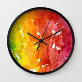 Rainbow Watercolor Texture Abstract Pattern Wall Clock