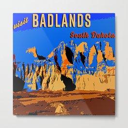 Visit Badlands Retro Postcard Metal Print