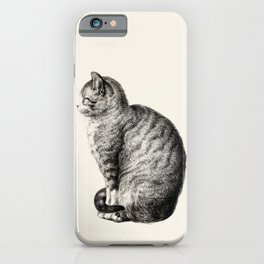 Cat Drawing by Jean Bernard iPhone Case