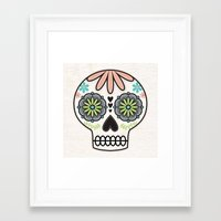 sugar skull Framed Art Prints featuring Sugar Skull by Liz Urso