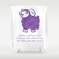 ram Shower Curtains featuring Ram by Gothic Panda