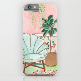 Art Deco Velvet Mint Shell Chair in Jungle Room with Tigers iPhone Case