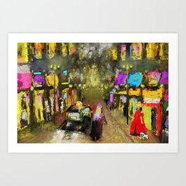 Street Night Lights Art Print