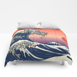The Great Wave Of Pug sunset Comforters