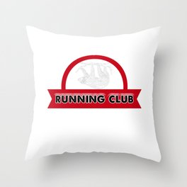 Adorable Sloth Running Club for Sloth Lovers Throw Pillow