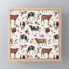 Boho Floral Cow Print with Purple flowers on Cream Framed Mini Art Print