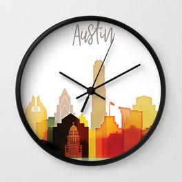 Austin colorful skyline Wall Clock