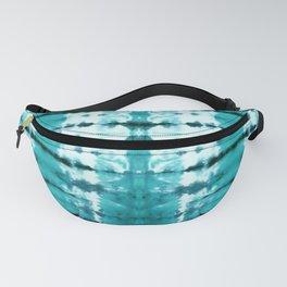 Aqua Satin Shibori Fanny Pack