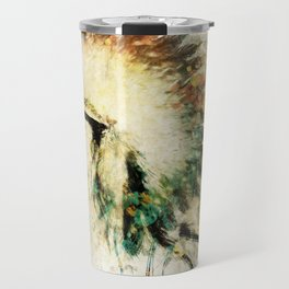 Native American Boho Headdress Sideview Travel Mug