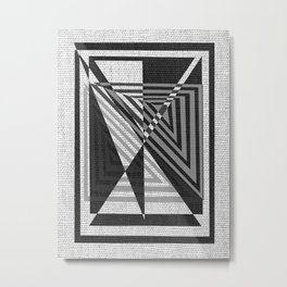 geometric gray and black pattern Metal Print