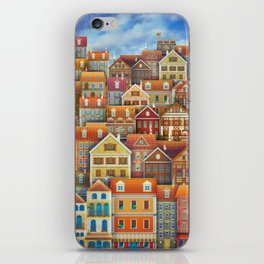 Illustration of  cute houses in sky iPhone Skin