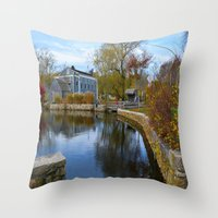 cape cod Throw Pillows featuring Cape Cod by Yleniuccia89