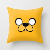 jake Throw Pillows featuring Jake by Expired Kimchi