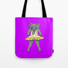 Elephant Ballerina - Yellow Purple Tote Bag