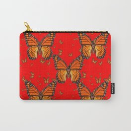 ORANGE MONARCH BUTTERFLIES RED MODERN ART MONTAGE Carry-All Pouch
